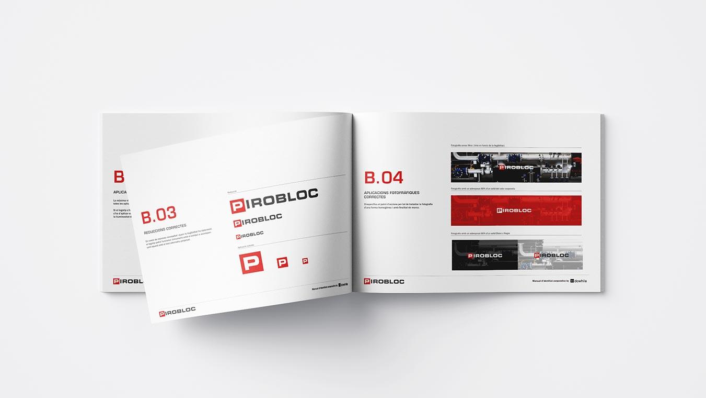 2 h diseno grafico branding identidad corporativa logotipo pirobloc