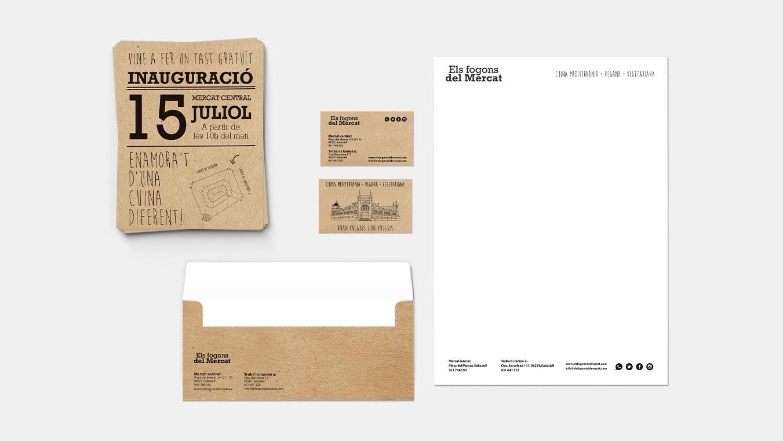 6 v diseno grafico branding identidad corporativa logotipo els fogons mercat